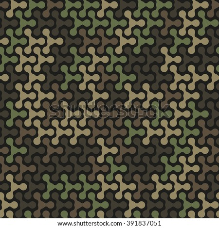 Seamless pattern. Abstract military or hunting camouflage background. Green and brown color. Made from geometric metaball shapes. Vector illustration. EPS10. - stock vector