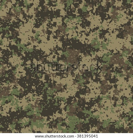 Seamless pattern. Abstract military or hunting camouflage background. Made from geometric square shapes. Vector illustration. - stock vector