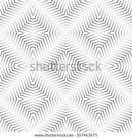 Seamless pattern. Abstract modern dotted background. Original stylish texture with repeating dotted stars, hexagons, polygons, small dots. Geometrical lace. Vector element of graphical design - stock vector