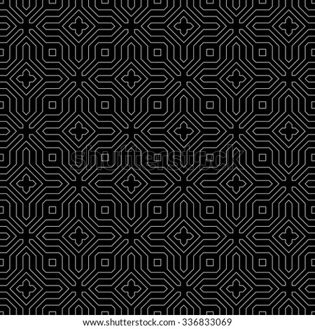 Seamless pattern. Abstract monochrome background. Modern stylish texture with thin lines. Regularly repeating geometrical ornament with polygonal linear shapes. Vector element of graphic design - stock vector