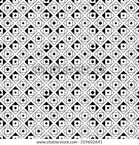 Seamless pattern. Abstract original geometrical background. Stylish simple texture with chaotically repeating triangles, rhombuses, squares. Vector element of graphical design