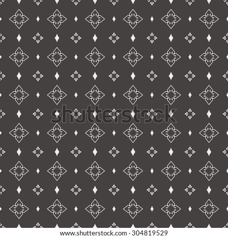 Seamless pattern. Abstract ornamental background. Black and white texture with regularly repeating geometrical, shapes, hearts, rhombuses. Vector element of graphic design - stock vector