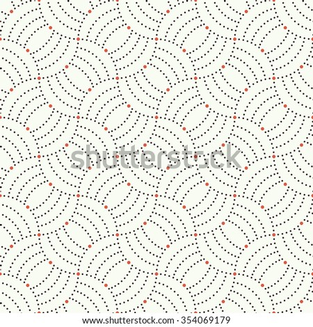Seamless pattern. Abstract ornamental background. Modern trendy texture with regularly repeating geometrical shapes, small dots, dotted arcs, waves. Vector element of graphical design