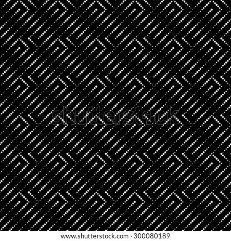 Seamless pattern. Abstract small dotted background. Black and white texture with regularly repeating geometrical elements, shapes, small dots, dotted lines, zigzags. Vector element of graphic design - stock vector