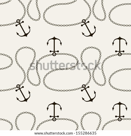 Seamless pattern. Abstract texture with anchors and ropes. Vector stylish monochrome print - stock vector