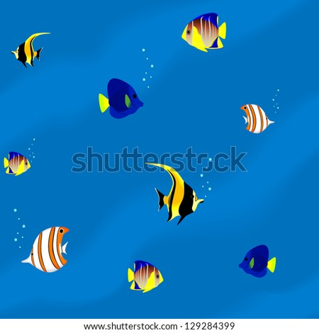 Seamless pattern - aquarium with colorful tropical fish - stock vector