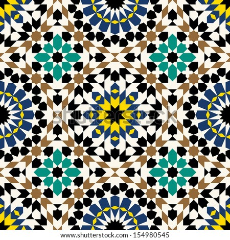 Seamless Pattern.  Arabic, islamic, colorful, traditional morocco background.