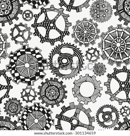 Seamless pattern artistically gears. Hand-drawn, ethnic, floral, retro, doodle, vector, zentangle, tribal design element. coloring book. Black and white background. - stock vector