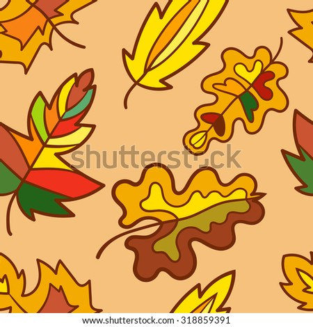 Seamless pattern. Autumn theme. Vector illustration