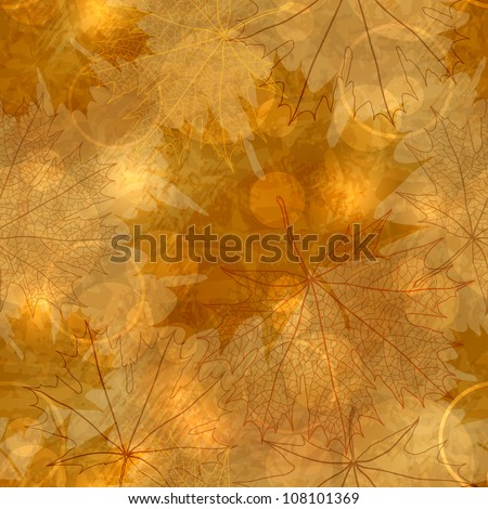 Seamless pattern - Autumnal leaves, vector illustration, eps-10