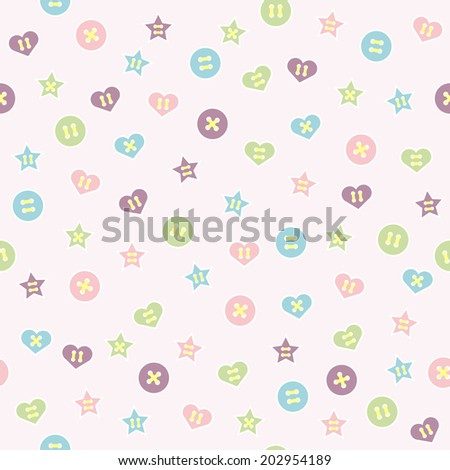 Seamless pattern. Baby background with colorful buttons. Paper for scrapbook or background. Vector illustration.The rose background is removed