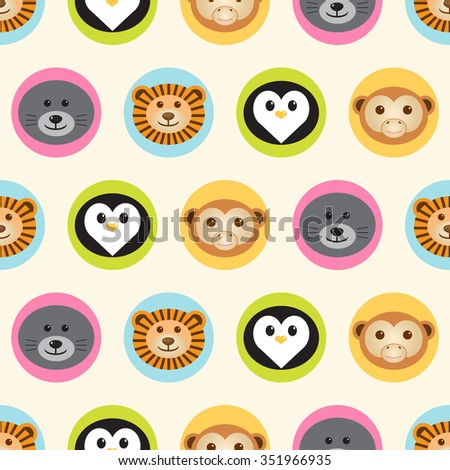 Seamless pattern. Baby background with cute round animals - penguin, lion, monkey and navy seal - in colorful circles. Paper for scrapbook or background. Vector illustration. - stock vector