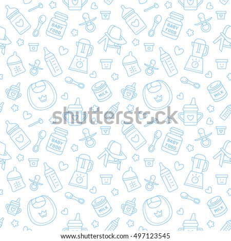 Seamless pattern baby food, pastel color, vector illustration. Infant feeding thin line icons. Cute repeated blue texture, baby item for packaging, baby shower card, fabric. Birthday invitation design