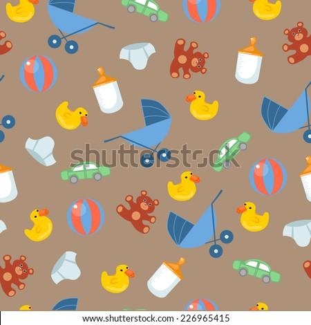 Seamless Pattern Baby set - Illustration - stock vector