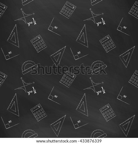 Seamless pattern back to school. Vector black blackboard written with white chalk schedule, formula, line, triangle, calculator, protractor and angle. Design elements for the design of school manuals