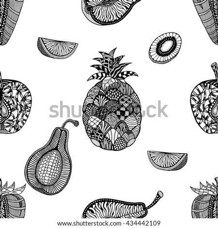 Seamless pattern backgroud of fruit. Plant. Exotic fruit. Line art. Monochrome Hand drawn. Doodle vector illustration. - stock vector
