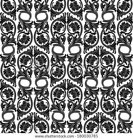 Seamless pattern background.Damask wallpaper. Vector illustration