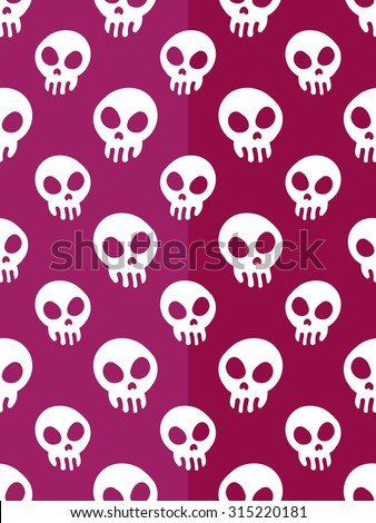 Seamless pattern background in halloween concept with funny skull - stock vector