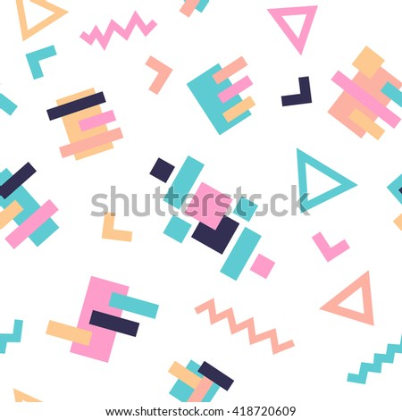 Seamless Pattern background in retro 80s geometric style for fabric print, paper print and website backdrop, vector illustration. - stock vector