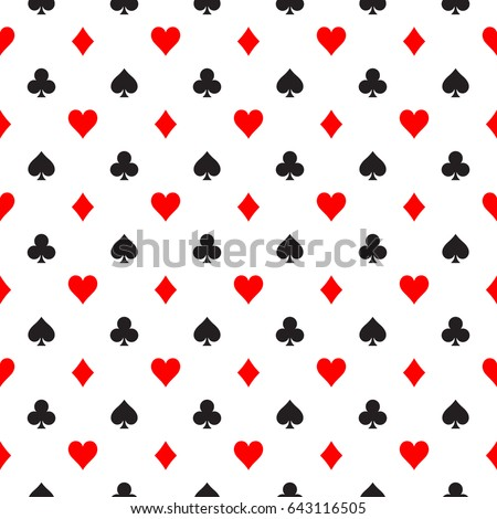 Seamless pattern background of poker suits - hearts, clubs, spades and diamonds - arranged in the rows on white background. Casino gambling theme vector illustration.