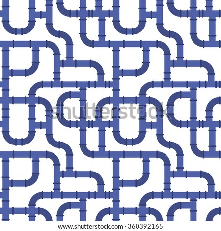 Seamless pattern background of water pipeline in flat style design