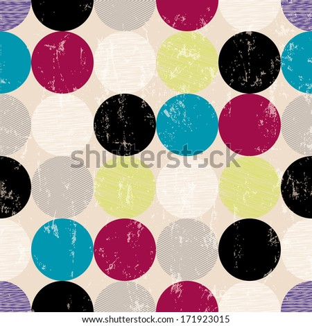 seamless pattern background, retro/vintage style, with circles - stock vector
