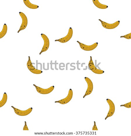 Seamless pattern background ripe bananas - stock vector