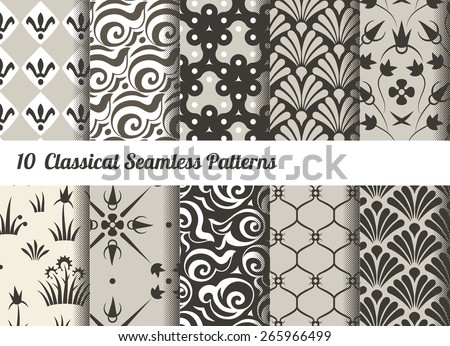 Seamless pattern background. Set of 10 classical motifs. Monochrome sepia colors - stock vector