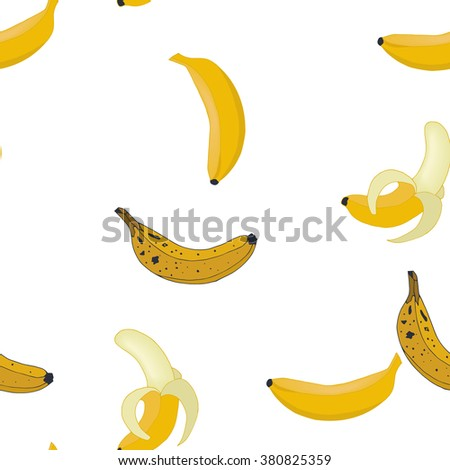 Seamless pattern background sweet bananas. Fruits vector. - stock vector