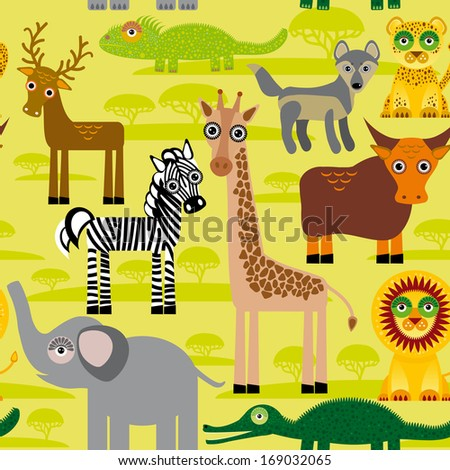 Seamless pattern background with African animals. vector - stock vector