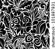 Seamless pattern background with black contours of various plants, vector illustration - stock vector