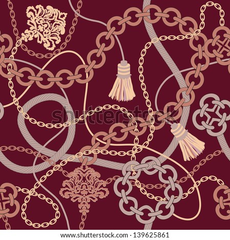 Seamless pattern.Background with chain , rope, tassel. Vector illustration - stock vector