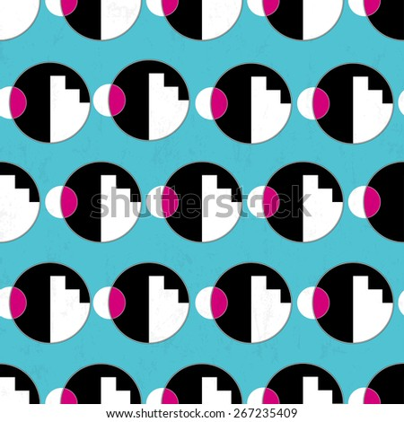seamless pattern background, with circles and geometric lines, black and white, grungy - stock vector