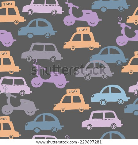 Seamless pattern background with colorful little cars  - stock vector