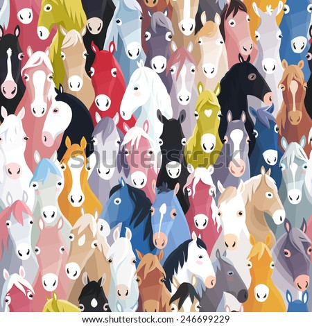Seamless pattern background with colourful cartoon horses - stock vector