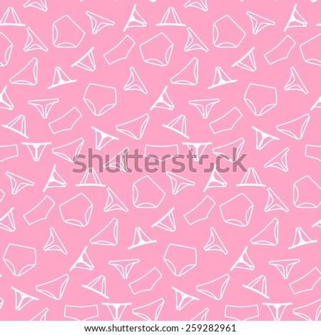 Seamless pattern background with different women's panties - stock vector