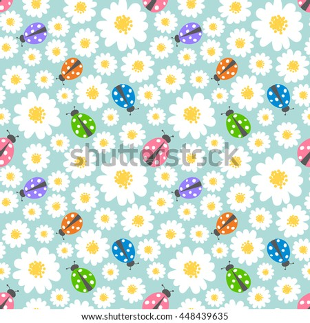 Seamless pattern background with flowers and ladybugs - stock vector