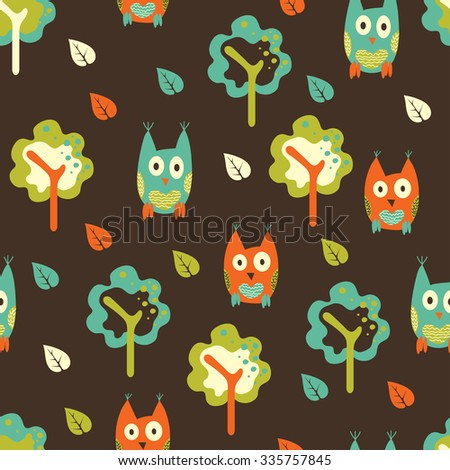Seamless pattern background with hand drawn owls, trees and leaves in forest. Design for childish fabric. - stock vector