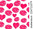 seamless pattern background with lipsticks prints and doodle hearts - stock vector