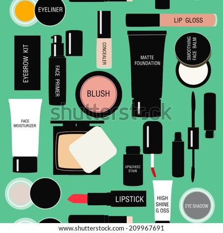 seamless pattern background with Makeup products in vector - stock vector