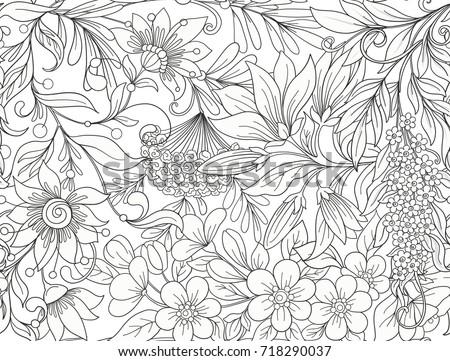 Seamless Pattern Background With Spring Flowers Magnolia Sak
