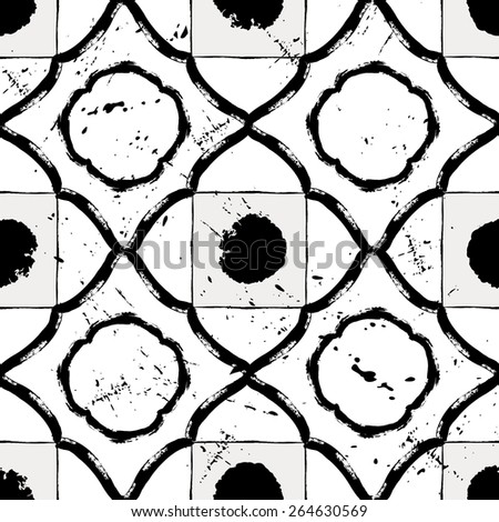 seamless pattern background, with strokes and splashes, black and white - stock vector