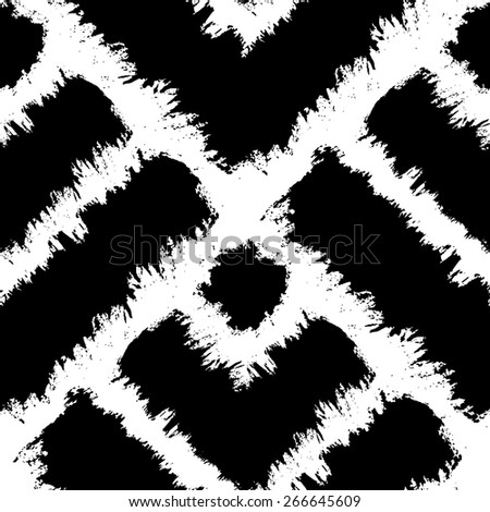 seamless pattern background, with strokes and splashes, black and white, squares - stock vector
