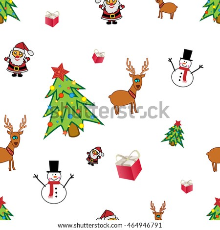 Seamless pattern background with symbols of Christmas or New Year - Santa, snowman, reindeer, decorated christmas tree and gift Christmas seamless pattern Christmas background New year background Xmas