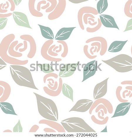Seamless pattern background with vintage color roses - stock vector