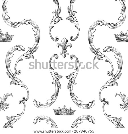 Seamless pattern backgrounds. hand drawn decorative elements, vector illustration  - stock vector