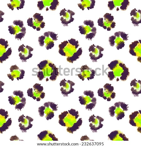 Seamless pattern based on the leopard spots in green color. Painted by hand in watercolor. Abstract background. - stock vector