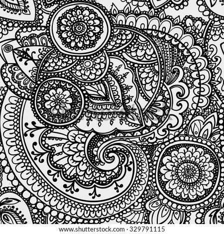Seamless pattern based on traditional Asian elements. Black and white.