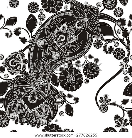 Seamless pattern based on traditional Asian elements Paisley. Black-and-white pattern. White background. - stock vector