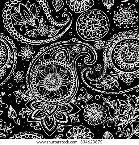 Seamless pattern based on traditional Asian elements Paisley. Black background, white outline. - stock vector